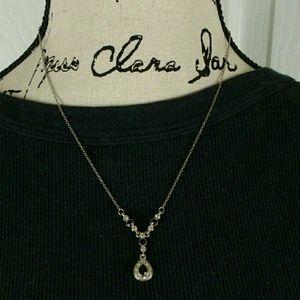 "Jewelry - Black & white rhinestone silver tone 19"" necklace"